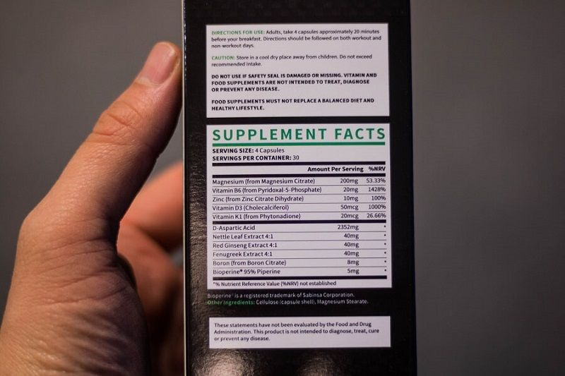 testogen ingredients label